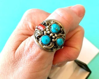 Men's Navajo Sterling Silver Triple Turquoise & Red Coral Ring Size 11
