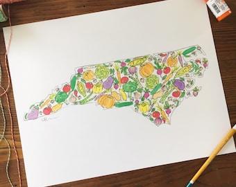 Vegetable Art. North Carolina Art. Watercolor Veggies. NC Print. Gift Under 30. 11x14 Print. Watercolor Art. Vegetable Painting. Wall Art