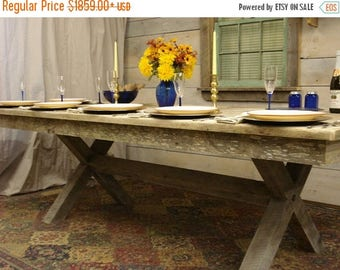 "ON SALE Driftwood Trestle Table (96"" x 44"" x 29""H) Seats 12 Comfortably"