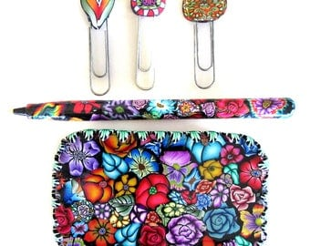 Tin trinket box with pen and clips or bookmarks Millefiori polymer clay design T34