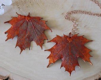 Copper Sugar Maple Leaf Necklace, Real Leaf Necklace, Maple Leaf, Rose Gold Leaf Necklace, Canadian Maple, Long Leaf, Leaf Pendant LC100