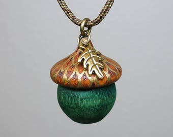 Autumn Acorn Pendant Necklace, Wooden Acorn, Hunter Green with Gold Accents, Pyrography