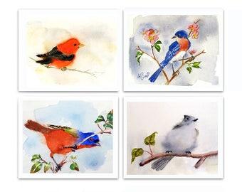 Woodland Birds Print Set Watercolor Set Bird Art Set Song Bird prints Laundry room art Bird illustrations prints Sale LaBerge 20% Set of 4 N