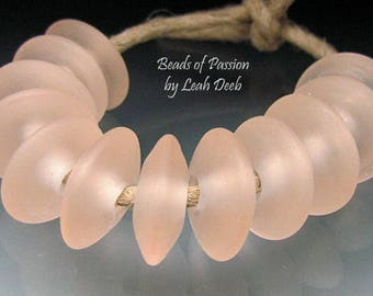 Handmade Glass Beads of Passion Leah Deeb Lampwork - 8 Frosty Peach Seaglass