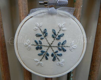 Snowflake Ornament - Hand Stitched - Winter - Snow