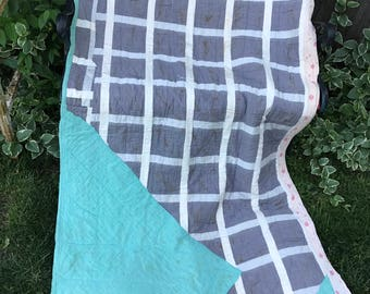 Vintage Machine and Hand Quilted Grey, White and Jade Make Do Quilt