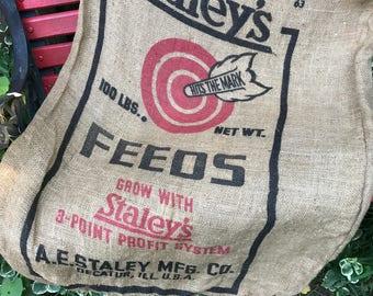 Vintage STALEY'S FEEDS With Red Bullseye Burlap Bag or Feedsack (Still a Sack)