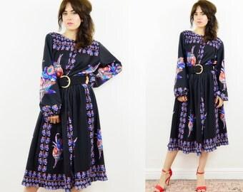 70s floral dress, plus size dress, black floral dress, 70s boho dress, plus size vintage, evening dress, vintage floral dress