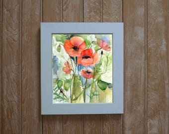 Framed poppy print-  poppy watercolor giclee print - framed art- botanical watercolor- floral gift- framed floral painting- orange poppies