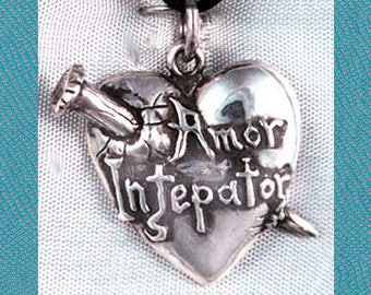 Medium Vampire Pierced Heart Sterling Silver Pendant Charm