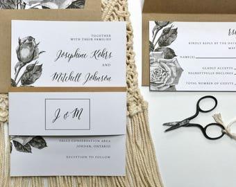 Floral Wedding Invitation | Vintage Wedding Invitation | Floral Botanical Black White Wedding Invitations | DIY | PDF Printable Digital