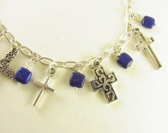 Bracelet Genuine Lapis Lazuli with Crosses