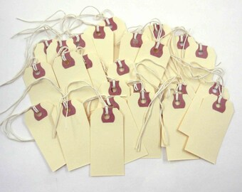 Vintage Unused Ivory Manila Shipping or Store Pricing String Tags with Reinforced Hole  Set of 25