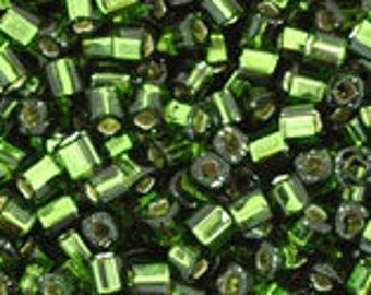 TOHO Japanese Seed Beads - Cube 1.5mm : 37 Silver-Lined Olivine - choose your gram weight