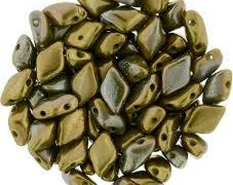 Matubo Gem Duo Beads 8mm x 5mm:  Opaque Olive Vega Pressed Glass Bead - 8 grams
