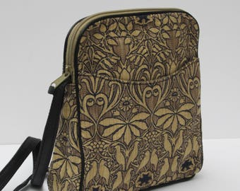 SMALL SHOULDER BAG  Fabric and Leather Shimmery Birds with Black Leather