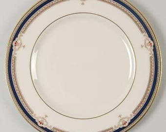 Buchanan by LENOX  Salad Plate, Discontinued 1985 - 1999 - Beautiful China! Presidential, Cobalt & Tan Scrolls