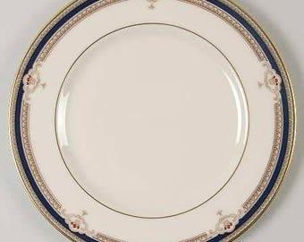 Buchanan by LENOX  Salad Plate, Discontinued 1985 - 1999 - Beautiful China! Presidential, Cobalt & Tan Scrolls