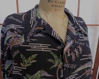 Vintage Men's Silk Avanti Hawaiian Shirt XXL