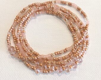 Rose Gold Stretch Wrap Bracelet, Necklace, Stackable, Layering Accessory, Crystal, Boho, Seed Beads