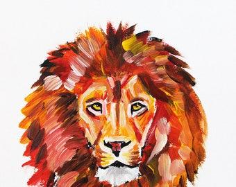 Lion Portrait, Lion Painting, Lion Art, Animal Art, Minimalistic Art, Nursery Art, Nursery Animal Art, Nursery Animal Portrait, Nursery Lion