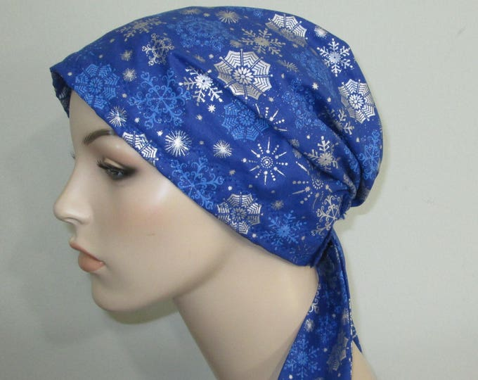Featured listing image: Blue and Silver Snowflakes  Chemo Scarf, Hat, Cancer Hat, Hijab, Alopecia MADE in USA{