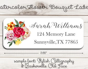 Watercolor Flower Bouquet Return Address Labels