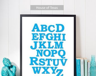 Colorful Turquoise Alphabet in round font nursery print, would be a fun addition to any nursery or toddler's room