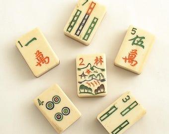 Antique Mah Jong Tiles Thick Tiles Bone Bamboo Mah Jongg Vintage Mahjong