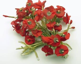 Vintage Corsage Picks Red Flower Picks