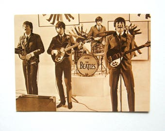Vintage Beatles Post card - 1970's - Fotocard, Sepia color, Collectors item, Rock Memorabilia, Rock 'n Roll, Music Memorabilia, Beatles fan