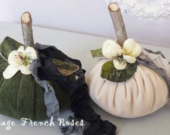 Pumpkin Velvet Handmade Trimmed With Velvet Pansies Millinery Leaves Autumn FallThanksgiving ShabbyChic Cottage French Farmhouse Style Decor