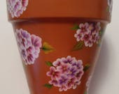 Hydrangea Flower Pot Hydrangeas Flower Pot Hand Painted Clay Pots Hydrangeas Flowers Hydrangea Clay Flower Pot