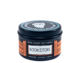 Bookstore - 2 oz Mini Book Lovers' Soy Candle -  Book Lover Gift - Scented Soy Candle - Frostbeard Studio