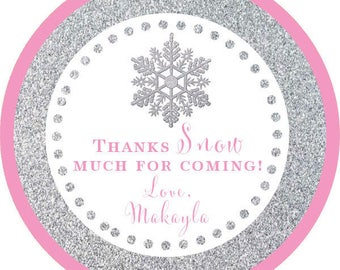 DIY Printable File- Winter Wonderland Silver Pink Glitter Snowflake Thank You  Stickers, Tags- AVERY LABEL 22807