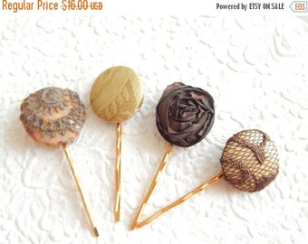 CLEARANCE - 4 olive brown hair-pins, embroidered hairpins, fabric hairpins, 1 1/8 inch hairpins, hair accessory, womens accessory