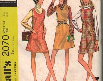 1969 McCalls 2070 Retro Mod Dress Sewing Pattern Vintage Size 14 A Line Shift Mini Dress Jumper