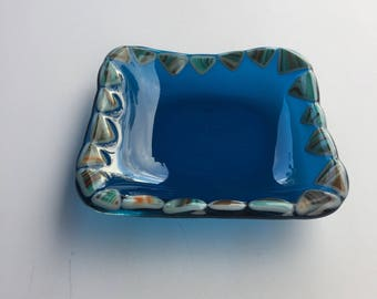 Ring Dish, Trinket Dish, Spoon Rest Aqua Southwest Glass