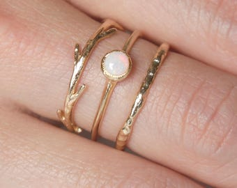 14k Opal Twig Ring Set  | 14k Gold Ring Set |  Australian Opal