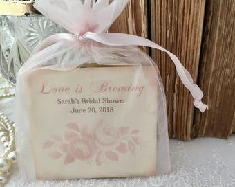 Pink Rose Tea Bag Favors, Set of 10 Fully Assembled Personalized Wedding Bridal Shower