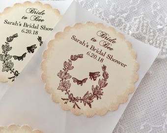 Bride to Bee Stickers Honey Bridal Shower Personalized  Set of 10