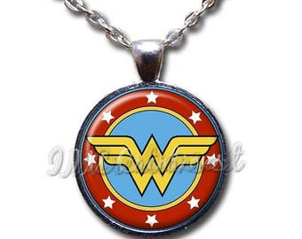 25% OFF - Wonder Woman Classic Symbol Glass Dome Pendant or with Chain Link Necklace FT127