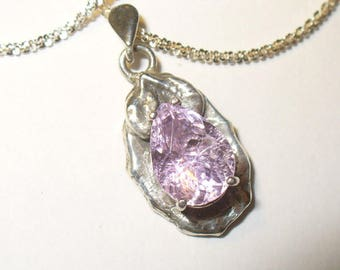 Kunzite Pendant Necklace in Fine Silver - Large Genuine, Natural Pink Pear-Cut Gem