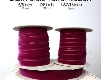 Purple Velvet Ribbon -- 3 Widths -- 5/8inch, 7/8inch, 1&7/16inch