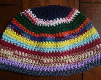 Hippie Multi Color Cotton Tight Stitch Beanie, Short Length