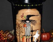 Hand Painted Halloween Witch Scene Metal Container - Bucket - Vase - Tole Painting - Decorative Painting - Home Decor - Monika Brint Design