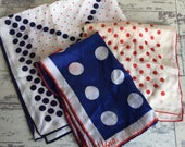 Vintage Vera Scarf  Lot of 3 - Polka Dots Red White and Blue - Long, Square