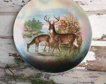 Vintage Deer Charger Plate Platter - Stag Buck Doe Decorative Porcelain Scenic Lodge Cabin Decor - R K Becker