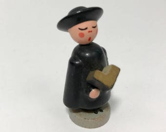 Vintage Miniature German Caroler Boy /  Vintage German / Erzgebirge?? / Hand Made, Hand painted