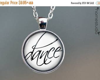 ON SALE - Dance Script : Glass Dome Necklace, Pendant or Keychain Key Ring. Gift Present metal round art photo jewelry by HomeStudio